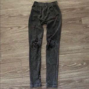 Pants - Grey Biker Leggings